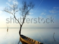 stock-photo-sunrise-over-dam-with-dead-trees-and-fishing-boat-at-thailand-125470952