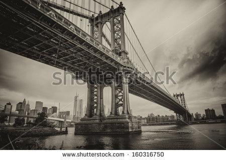 stock-photo-the-manhattan-bridge-new-york-city-awesome-wideangle-upward-view-160316750
