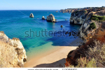 stock-photo-high-view-of-pinhao-beach-in-lagos-algarve-portugal-112086821