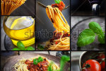 stock-photo-restaurant-series-collage-of-pasta-with-tomato-sauce-and-olives-italian-cooking-with-spaghetti-129184217
