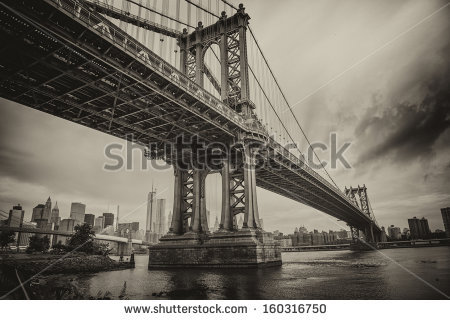 stock-photo-the-manhattan-bridge-new-york-city-awesome-wideangle-upward-view-160316750